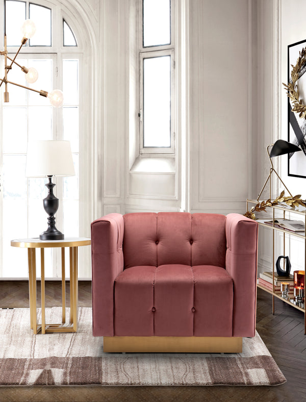 Iconic Home Primavera Navin Vesna Aviv Willow Club Chair Button Tufted Velvet Upholstered Gold Tone Metal Base Rose Main Image
