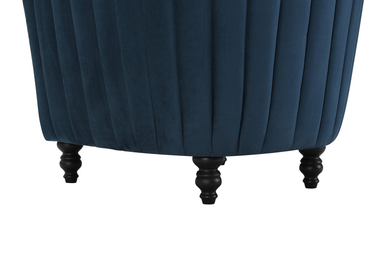 Iconic Home Riviera Accent Chair Velvet Upholstered Channel Quilted Turned Espresso Wood Legs Blue