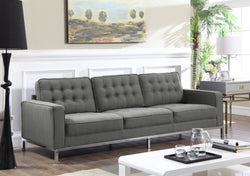 Iconic Home Draper Mayer Tucker Sterling Olson Sofa Three Seat Linen Upholstered Button Tufted Silvertone Metal Legs Grey Main Image