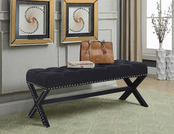 Iconic Home Dalit Mischa Luna Dianna Athena X Frame Nailhead Trim Linen Tufted Ottoman Bench Black Main Image
