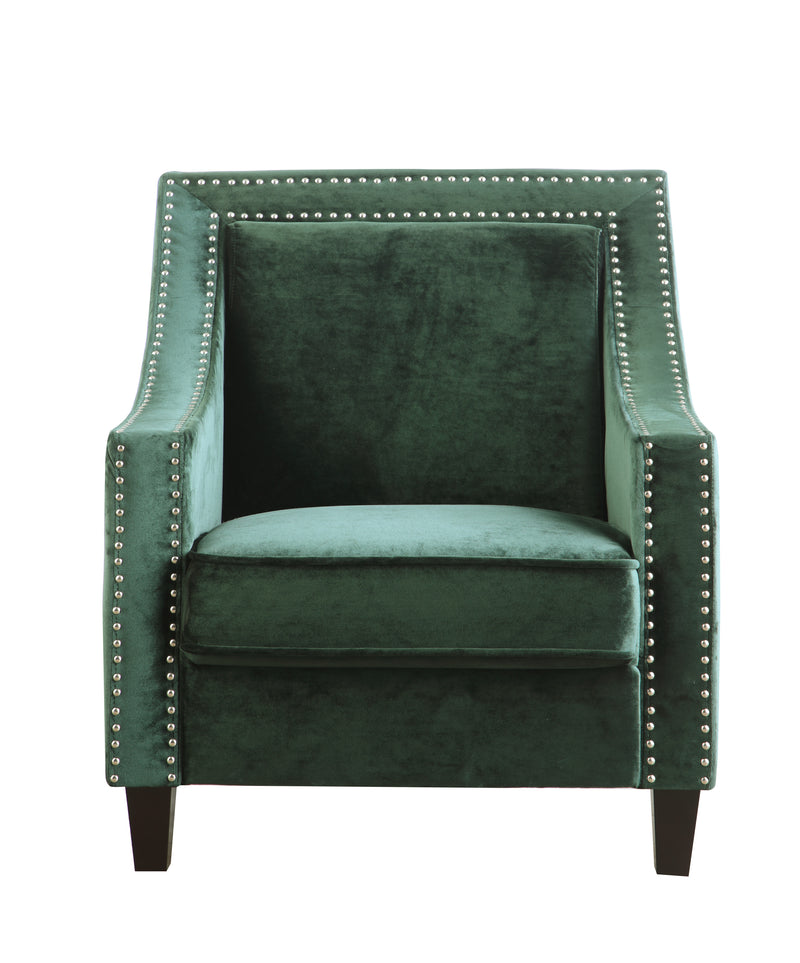 Iconic Home Camren Camero Kam Kameron Keros Accent Chair Velvet Upholstered Nailhead Trim Tapered Espresso Wood Legs Green Front Image