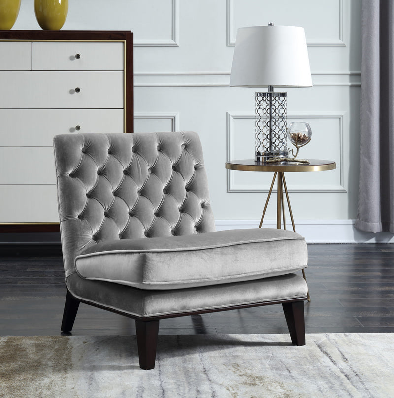 Iconic Home Achilles Nestor Priam Hector Paris Armless Velvet Tufted Slipper Accent Club Chair Grey Main Image