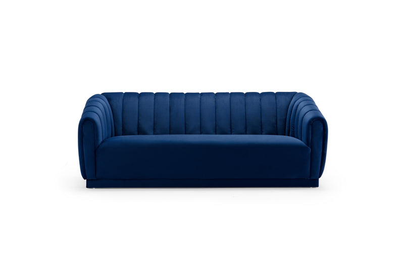 Iconic Home Van Gogh Sofa Velvet Upholstered Vertical Channel-Quilted Shelter Arm Design Navy