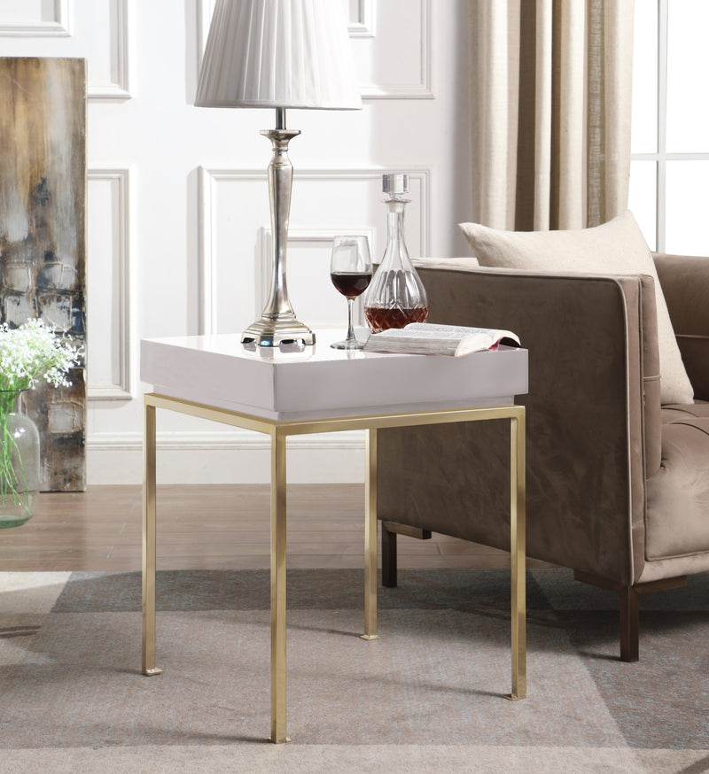 Iconic Home Cannes Bianca Frederique Sabrina Araya Side Table Nightstand High Gloss Lacquer Top Gold Plated Solid Metal Legs Beige Main Image