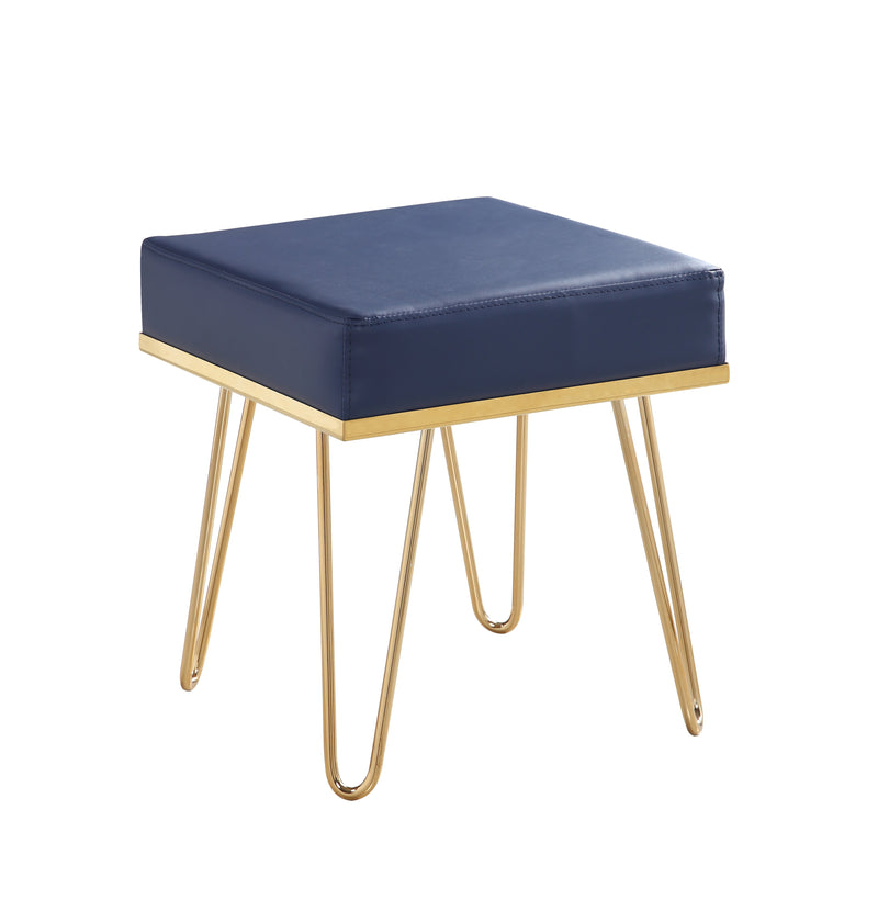 Iconic Home Catania Square Ottoman Metal Frame Hairpin Legs Navy