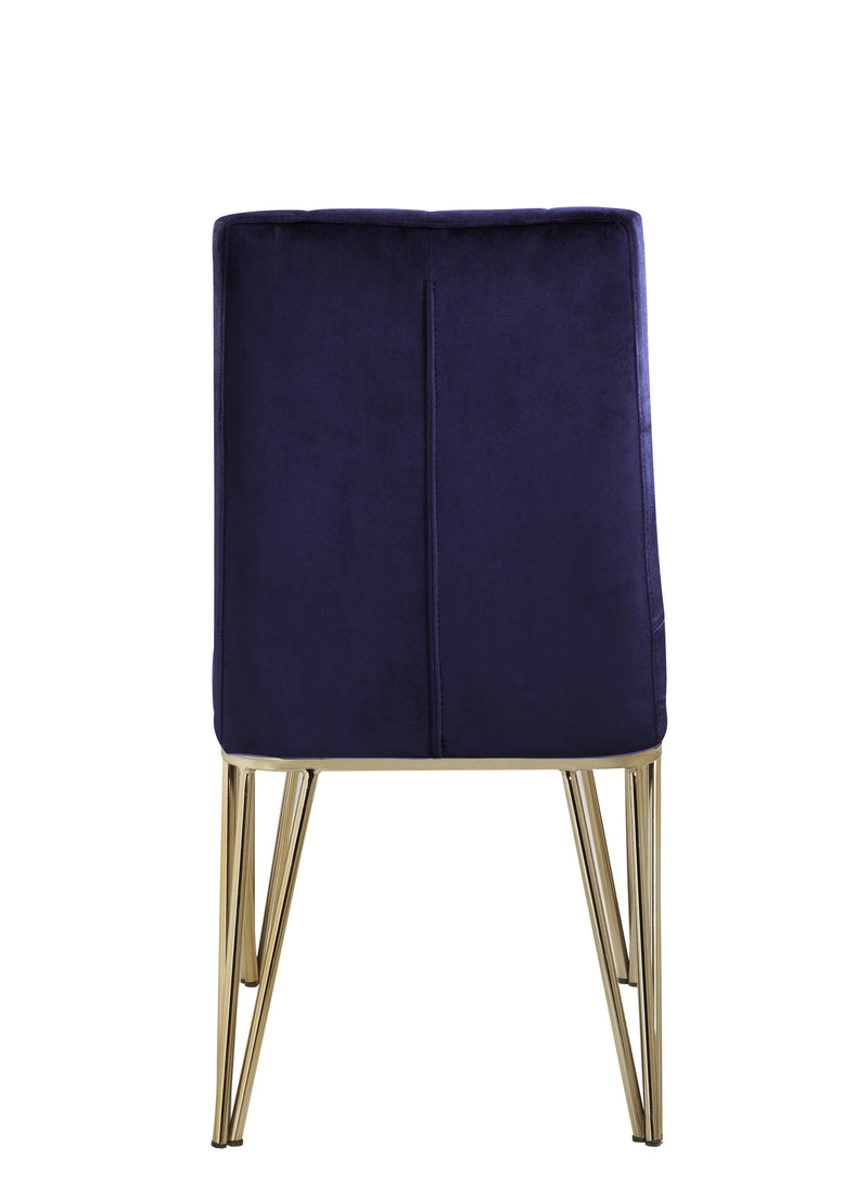 Iconic Home Callahan Dining Chair Velvet Upholstered Solid Gold Tone Spindle Legs Navy (Set of 2)