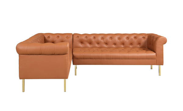 Iconic Home Giovanni Left Facing Sectional Sofa L Shape PU Leather Upholstered Gold Tone Legs Camel