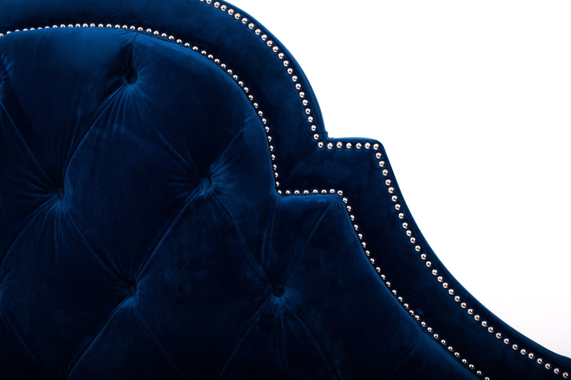 Iconic Home Napoleon Bed Frame with Wingback Headboard Button Tufted Velvet Upholstered Navy