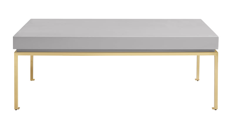 Iconic Home Alcee Center Coffee Table High Gloss Lacquer Top Gold Plated Solid Metal Legs Grey