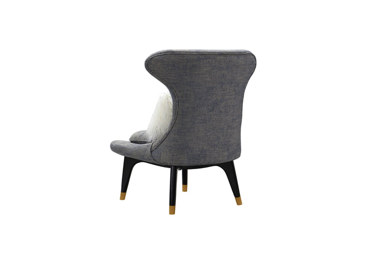 Iconic Home Chateau Accent Chair Two-Tone Textured Fabric Wingback Design Gold Tip Wood Legs Blue