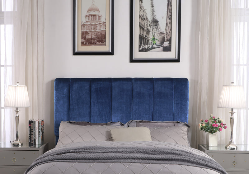 Iconic Home Uriella Leor Siraj Anwar Lucian Headboard Velvet Upholstered Vertical Striped Navy Main Image