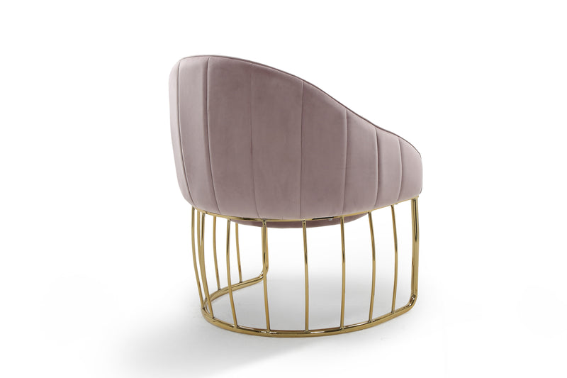 Iconic Home Teatro Shell Accent Chair Velvet Upholstered Half Moon Gold Tone Solid Metal Base Blush