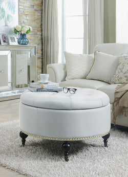 Iconic Home Mona Amelia Harriet Keller Parks Round Storage Ottoman Button Tufted PU Leather Upholstery Nailhead Trim Espresso Finished Wood Legs White Main Image