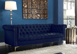 Iconic Home Winston Dwight MacArthur Patton Custer PU Leather Button Tufted Sofa Navy Main Image