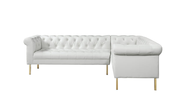 Iconic Home Giovanni Right Facing Sectional Sofa L Shape PU Leather Upholstered Gold Tone Legs Cream