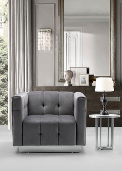 Iconic Home Primavera Navin Vesna Aviv Willow Club Chair Button Tufted Velvet Upholstered Gold Tone Metal Base Grey Main Image