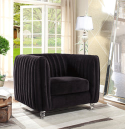 Iconic Home Kent Mark Elli Priscilla Maxx Channel Quilted Velvet Accent Club Chair Black Main Image