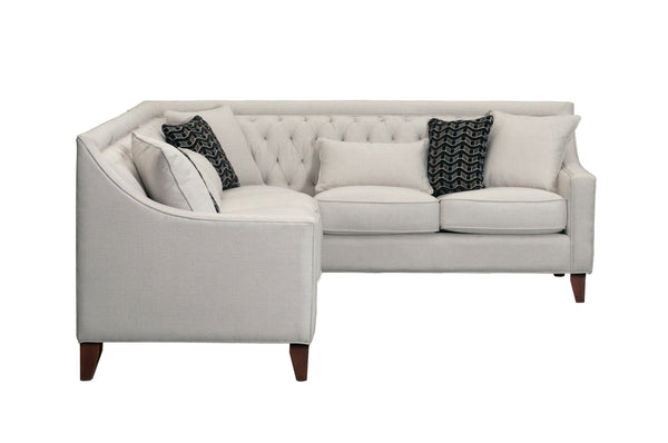 Iconic Home Aberdeen Linen Tufted Right Facing Sectional Sofa Cream