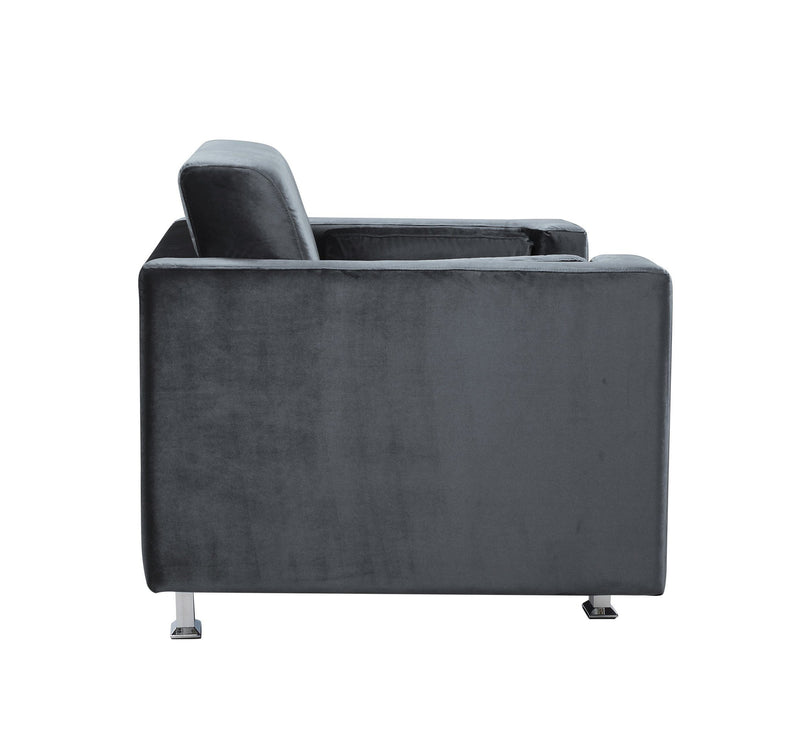 Iconic Home Amarillo Sleek Velvet Plush Accent Club Chair Grey
