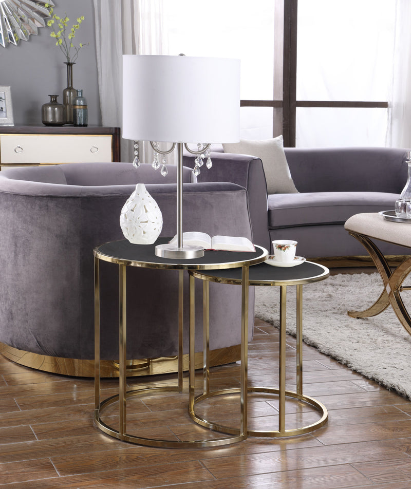Iconic Home Tuscany Hunter Blayne Olivia Avery Nesting Table 2 Piece PU Leather Top Gibbous Moon Gold Solid Metal Frame Black Main Image