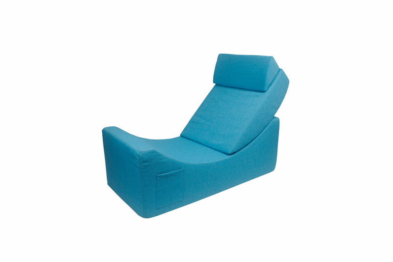 Iconic Home Enzyme Faux Linen Recliner Accent Chair Ottoman Bench Blue