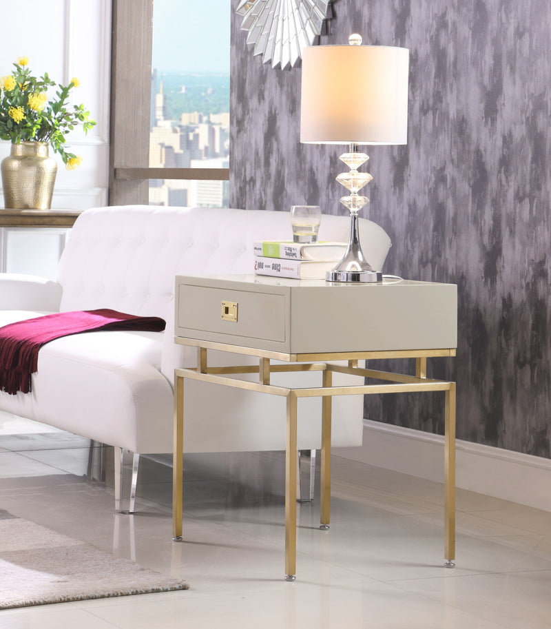 Iconic Home Genoa Neptune Rosso Banchi Neri Side Table Nightstand Brass Base Solid Frame Self Close Drawer Beige Main Image