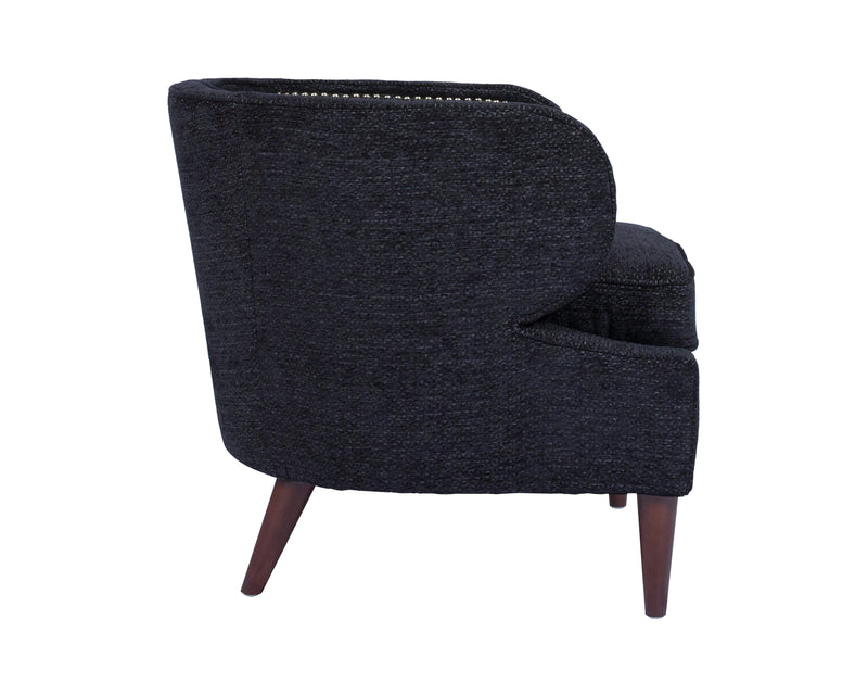 Iconic Home Vered Accent Club Chair Chenille Upholstered Nailhead Trim Wood Legs Black