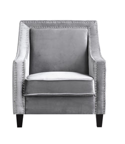 Iconic Home Camren Camero Kam Kameron Keros Accent Chair Velvet Upholstered Nailhead Trim Tapered Espresso Wood Legs Grey Front Image