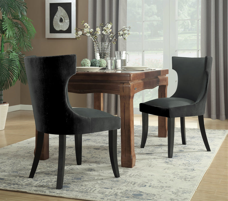 Iconic Home Conrad Narciso Kona Zeke Dino Velvet PU Leather Espresso Wood Frame Dining Side Chair (Set of 2) Charcoal/Grey Main Image