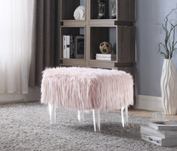 Iconic Home Fiorino Antonio Gabriel Ricco Miguel Faux Fur Ottoman Acrylic Legs Bench Pink Main Image