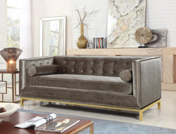 Iconic Home Dafna Anina Vigan Evie Tamara Club Sofa Tufted Velvet Brass Finished Stainless Steel Brushed Metal Frame Taupe Main Image