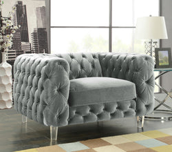 Iconic Home Syracus Castor Phobos Apollo Morgan Tufted Velvet Plush Accent Club Chair Grey Main Image