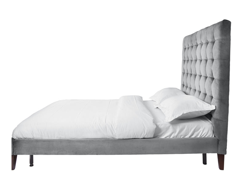 Iconic Home Beethoven Bed Frame and Headboard Tufted Velvet Upholstered Tapered Wood Legs Light Grey