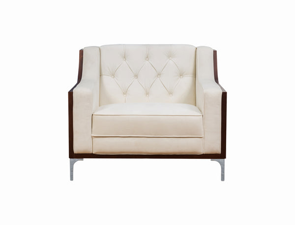 Iconic Home Clark Club Chair Button Tufted Velvet Walnut Finish Swoop Arm Wood Frame Metal Legs Cream
