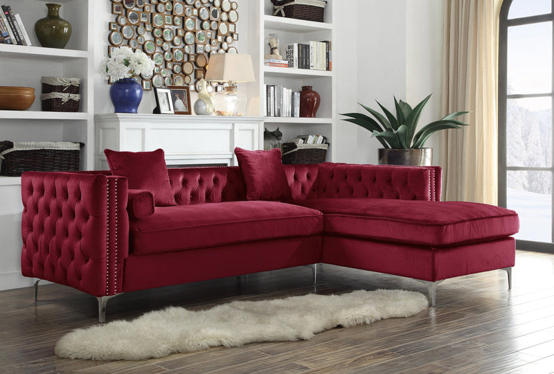 Iconic Home Da Vinci Michelangelo Picasso Monet Bosch Button Tufted Velvet Right Facing Chaise Sectional Sofa Red Main Image
