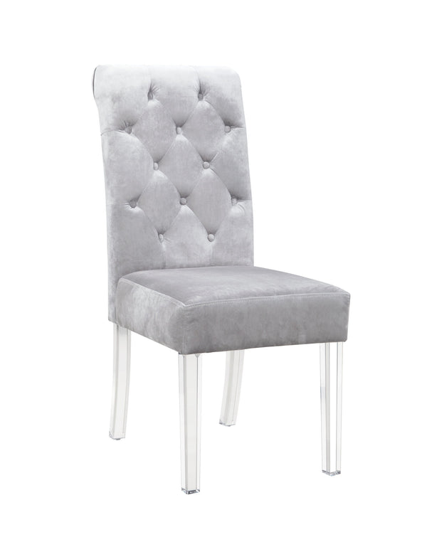 Iconic Home Sharon Dining Side Chair Button Tufted Velvet Upholstered Acrylic Legs Silver (Set of 2)