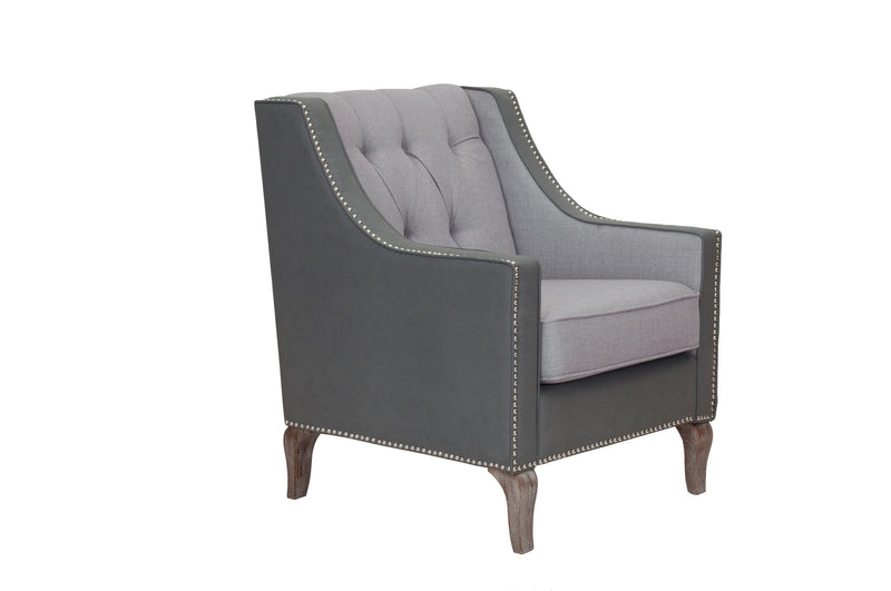 Iconic Home Ethan Accent Club Chair Linen PU Leather Button Tufted Nailhead Trim Wood Legs Grey