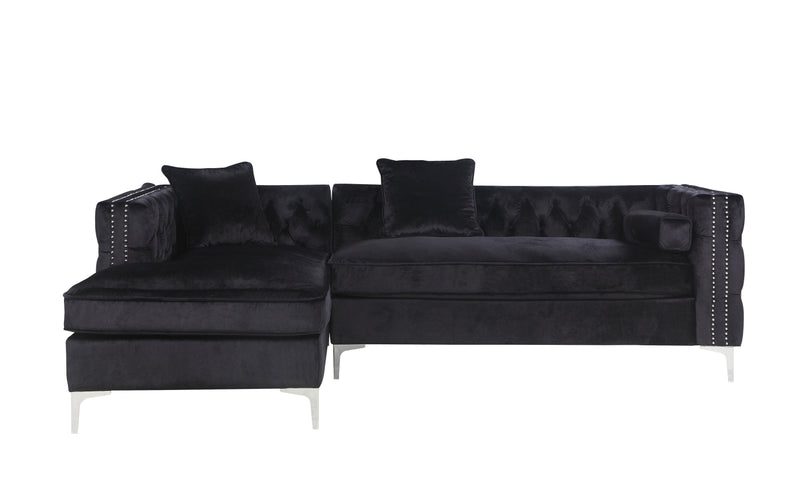 Iconic Home Da Vinci Button Tufted Velvet Left Facing Chaise Sectional Sofa Black