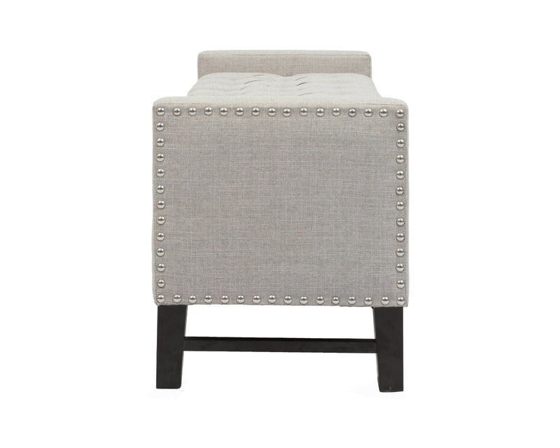 Iconic Home Lance Storage Bench Button Tufted Linen Upholstered Espresso Legs Bench Light Grey
