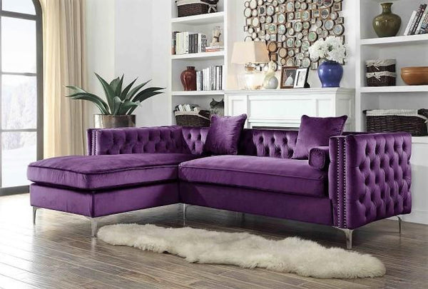 Iconic Home Da Vinci Michelangelo Picasso Monet Bosch Button Tufted Velvet Left Facing Chaise Sectional Sofa Purple Main Image