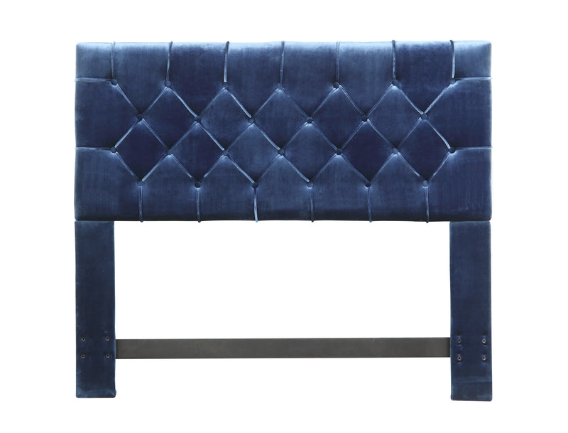 Iconic Home Rivka Headboard Velvet Upholstered Diamond Button Tufted Navy