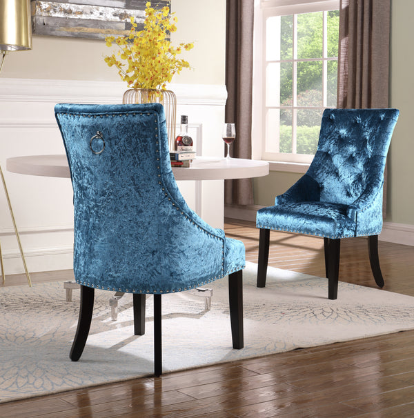 Iconic Home Raizel Rakel Rahel Raziela Racquel Dining Chair Velvet Upholstered Nail Head Trim Espresso Wood Legs Teal Set of 2 Main Image