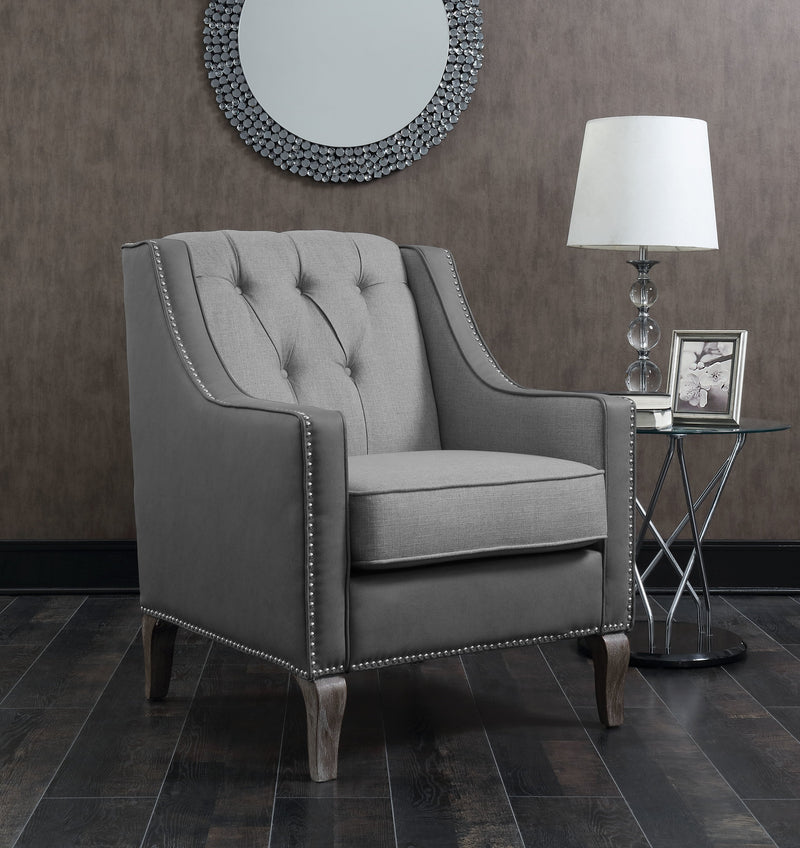 Iconic Home Ethan Jayden Riley Kris Haymish Accent Club Chair Linen PU Leather Upholstered Button Tufted Nailhead Trim Carved Wood Legs Grey Main Image