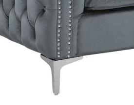 Iconic Home Da Vinci Button Tufted Velvet Upholstered Nail Head Trim Accent Club Chair Grey