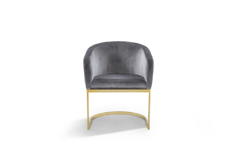 Iconic Home Siena Shell Accent Chair Velvet Upholstered U-Shaped Gold Plated Solid Metal Base Grey