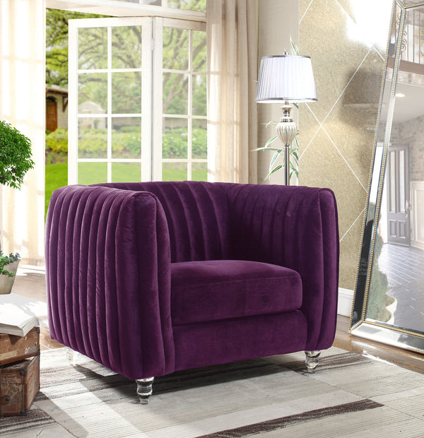 Iconic Home Kent Mark Elli Priscilla Maxx Channel Quilted Velvet Accent Club Chair Purple Main Image