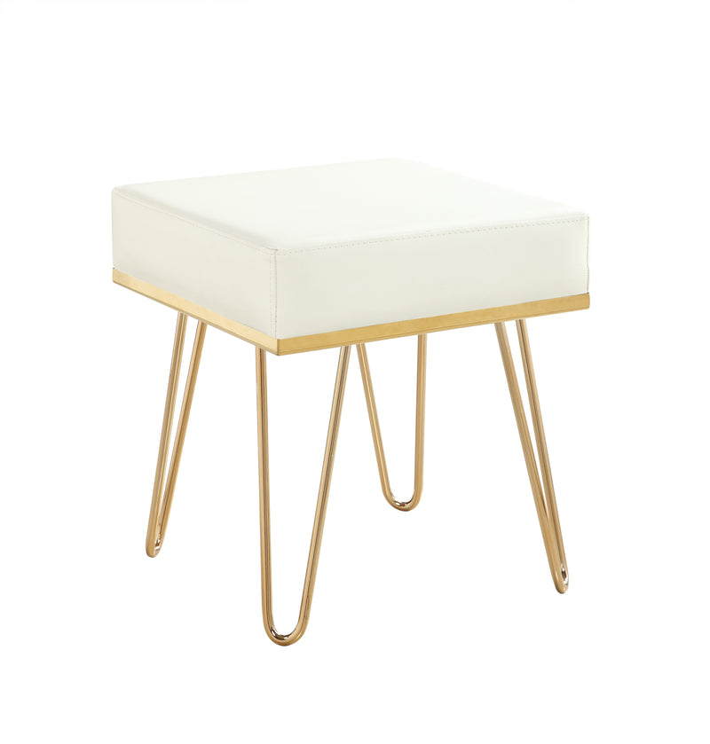 Iconic Home Catania Square Ottoman PU Leather Brass Finished Solid Metal Frame Hairpin Legs Cream