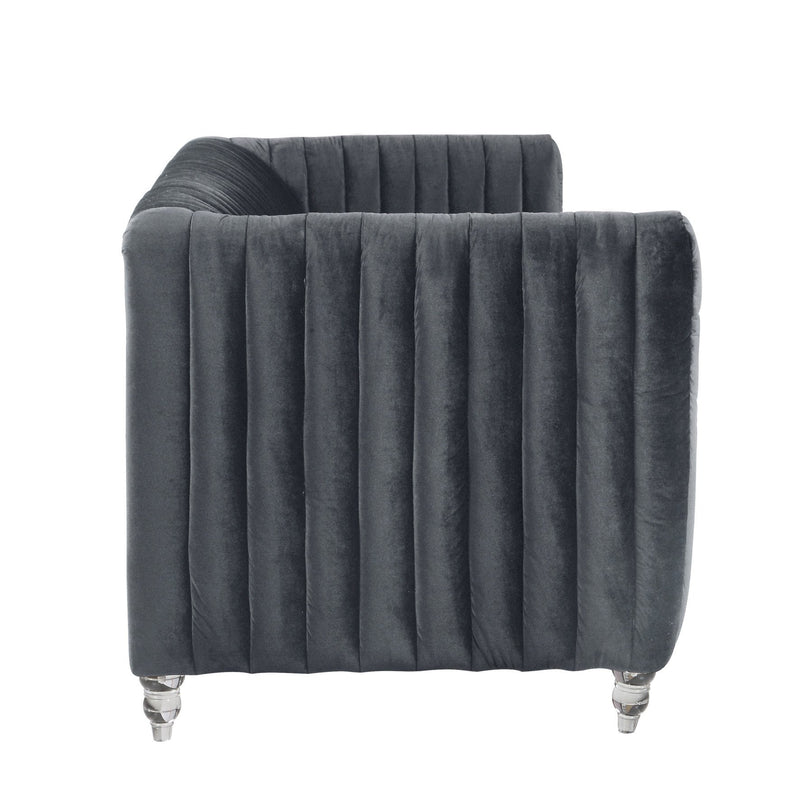 Iconic Home Kent Channel Quilted Velvet Sofa Grey