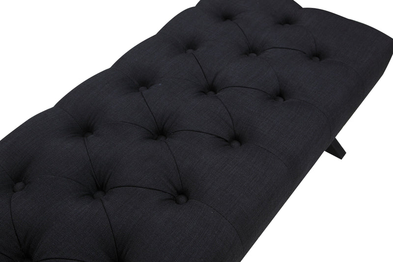 Iconic Home Dalit X Frame Nailhead Trim Linen Tufted Ottoman Bench Black
