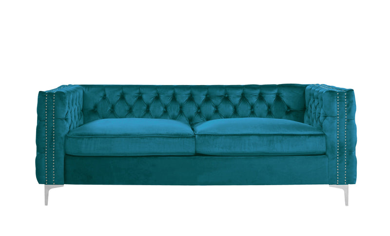 Iconic Home Da Vinci Button Tufted Velvet Upholstered Nail Head Trim Sofa Teal